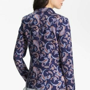 Hinge single button rayon polyester paisley blazer